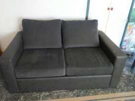 Vendo sillón cama de 1 plaza 1/2 de chenille y cuero ecológico 2 años de uso