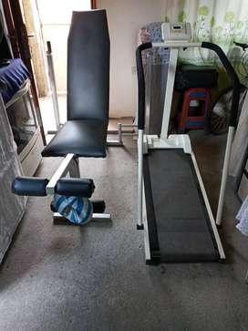 se vende caminadora manual y silla para pesas