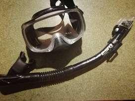 Set De Careta Y Snorkel Con Valvula De Purga Y Snokel Seco (color negro) negociable