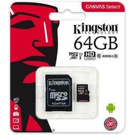 Micro SD Kingston 64 GB Canvas Select Leer precio en publicación