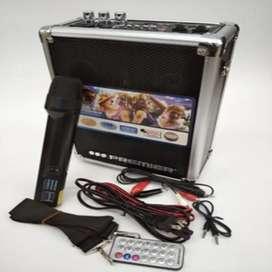 Cabina recargable USB SD AUX FM micrófono inalámbrico