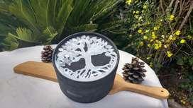 Caja  redonda decorada decoupage