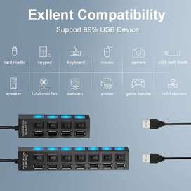 Multi USB Hub 2,0 Splitter 7 puertos USB