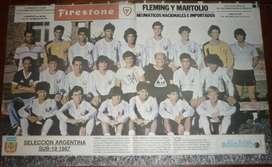 ANTIGUO POSTER LAMINA SOLO FUTBOL SELECCION ARGENTINA SUB19 AÑO 1987 REDONDO HUGO MARADONA
