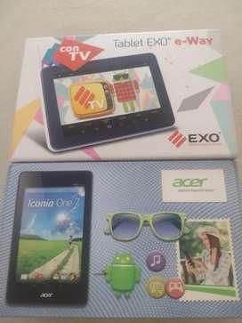 Tablet exo TV y Acer iconia con sus fundas teclado