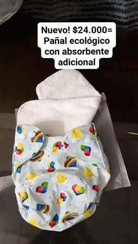 Pañales ecológicos nuevos con absorbente