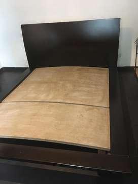 Base y cabecero para cama doble en madera