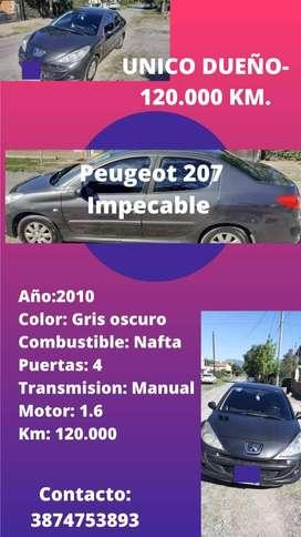 Peugeot 207 IMPECABLE- Único dueño- 120.000 KM. A $650.000 NEGOCIABLE-Papeles al día