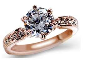 Anillos de Compromiso Oro 18k Diamantes Aniversario Regalo Amor Enamorados Plata
