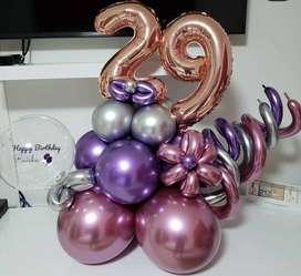Bouquets o arreglos con globos para ocasiones especiales, cumpleaños, graduación, aniversario