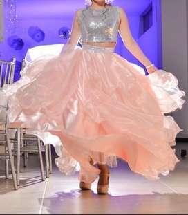 Vestido de 15 de 3 piezas color palo de rosa