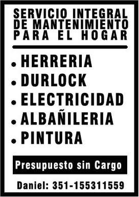HERRERIA DURLOCK ELECTRICIDAD ALBAÑILERIA PINTURA