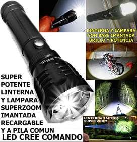 POTENTE LINTERNA Y LAMPARA 100M LED CREE SUPERZOOM IMANTADA RECARGABLE