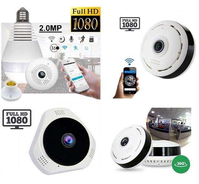 Camara Seguridad IP Panoramica Bombillo Tipo Sensor de Humo Vigilancia ojo de pez Espia Oculta WIFI FULLHD 0