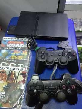 Play 2 con 2 controles ,10 juegos funcional