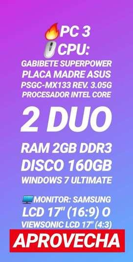 "PC CORE 2 DUO + MONITOR LCD 17"""