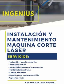 Mantenimiento e instalación de máquinas de corte y grabado láser