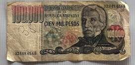 Billete de 100.000 Pesos Argentinos