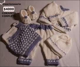 Conjunto tejido antialérgico ideal regalo varias piezas bebés y niños