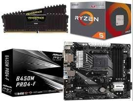 Combo Gamer Barato Ryzen 5 3400g Board B450 16gb Ram 3200mhz