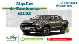 ALQUILER DE CAMIONETA HILUX