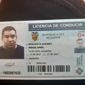Chofer profesional  licencia tipo E