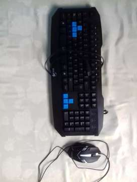 Taclado y mouse gamer con luces led