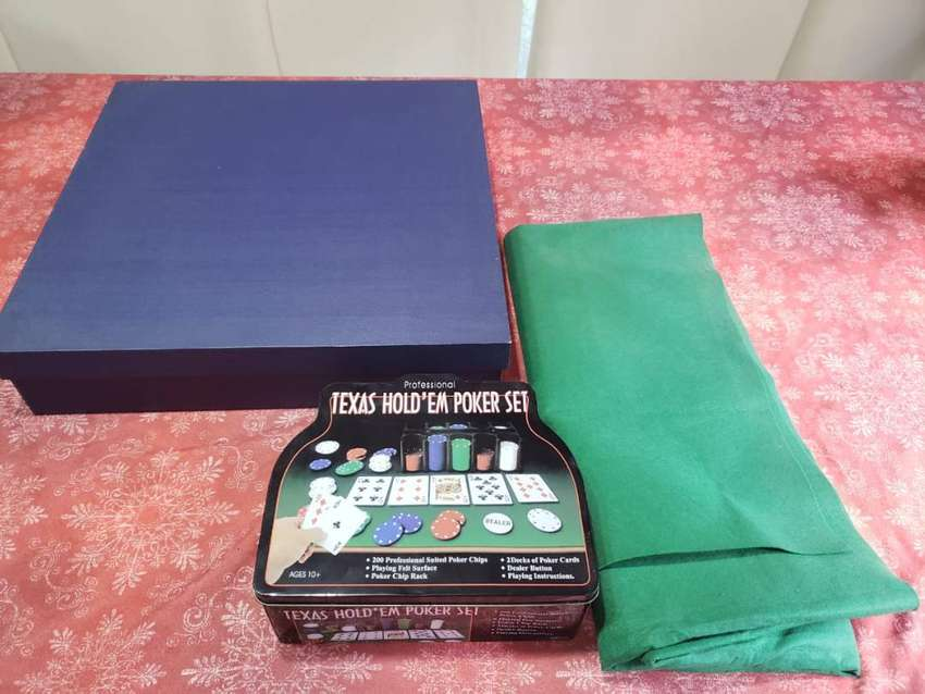 Ruleta profesional de madera+paño verde+set de juego de poker/black j 0