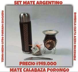 SET MATE ARGENTINO! MATE CALABAZA c\ BOMBILLA y TERMO FORRADO con BLEND SABOR!