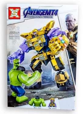 Legos HulkBUsters, Thanos, Hulk, IronPatriot, WarMachine