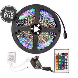 Tira led RGB 5M con fuente y control remoto