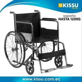Silla de Ruedas plegable compacta soporta hasta 120 kg ruedas duras