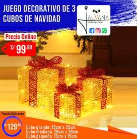 Juego de 3 cubos decorativos de navidad - Importado