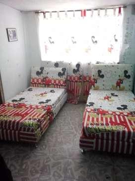 Base cama mas espaldar colchoneta semi ortopédica y dos cortinas