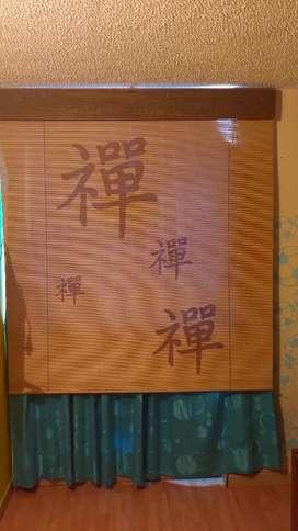 Cortina bambú madera 160*155 con malla de seguridad antiluz