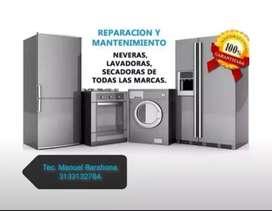 Mantenimiento  reparación e instalación de neveras, nevecones, lavadoras,  secadoras y Aires acondicionados