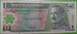 billete de 1 quetzal guatemala de coleccion