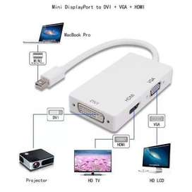 Adaptador Mini Display Port Thunderbolt HDMI / VGA / DVI/3 En 1 Para Macbook