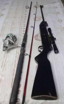 Vendo caña de pescar mas reel,y aire comp.cinco y medio.