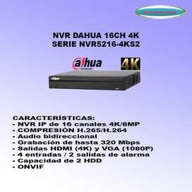 NVR 16CH DAHUA HASTA 8MP 4K NVR5216-4KS2 ALARMA AUDIO