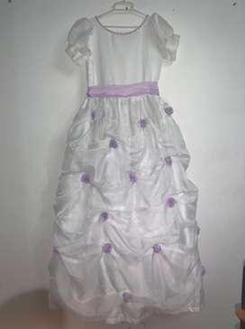 Vestido de primera comunión- color blanco con lila