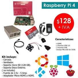 raspberry pi 4 4gb de ram con tarjeta micro sd de 32gb WIFII.usalo como mini computadora o entretenimiento nintendo