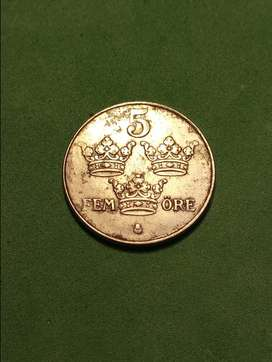 #Moneda Sweden 5 ore 1950