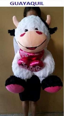 Peluche Vaca Musical Adorable con Corazon de Frase de 75cm
