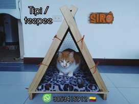 Tipi cama en madera para gatos y perros pequeños
