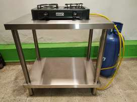 Combo Mesón, mesa, estante para negocio en acero inoxidable + estufa propano + cilindro de gas.