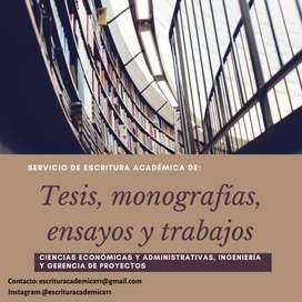 Asesoría en redaccción de Tesis de pregrado, Ensayos, monografías.