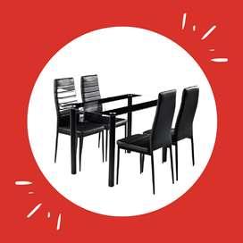 Juego de comedor de vidrio Delux para 4 sillas