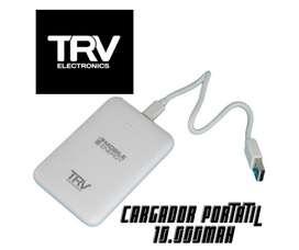 Cargador Portátil TRV 10.000mah., con 2 puertos USB. Con garantía y entrega a domicilio.