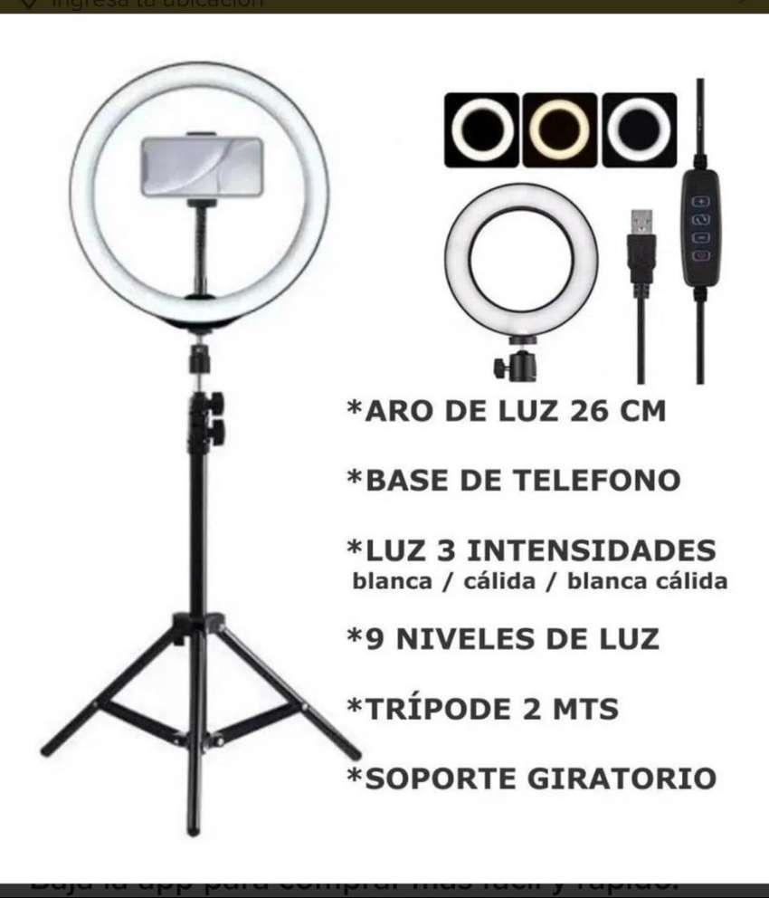 Aro De Luz Led 26cm + Tripode 2m De Altura + Soporte Celular 0